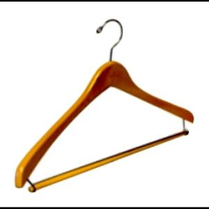 NEW Natural Wood Suit Hangers Trouser Bar 6-Pack